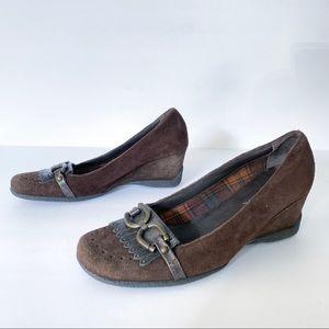 Aquatalia Buckle Kilt Wedge Loafers Sz 7